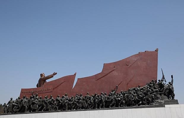 The Immortal Statue of Kim Il Sung monument is seen on April 2, 2011 in Pyongyang, North Korea.
