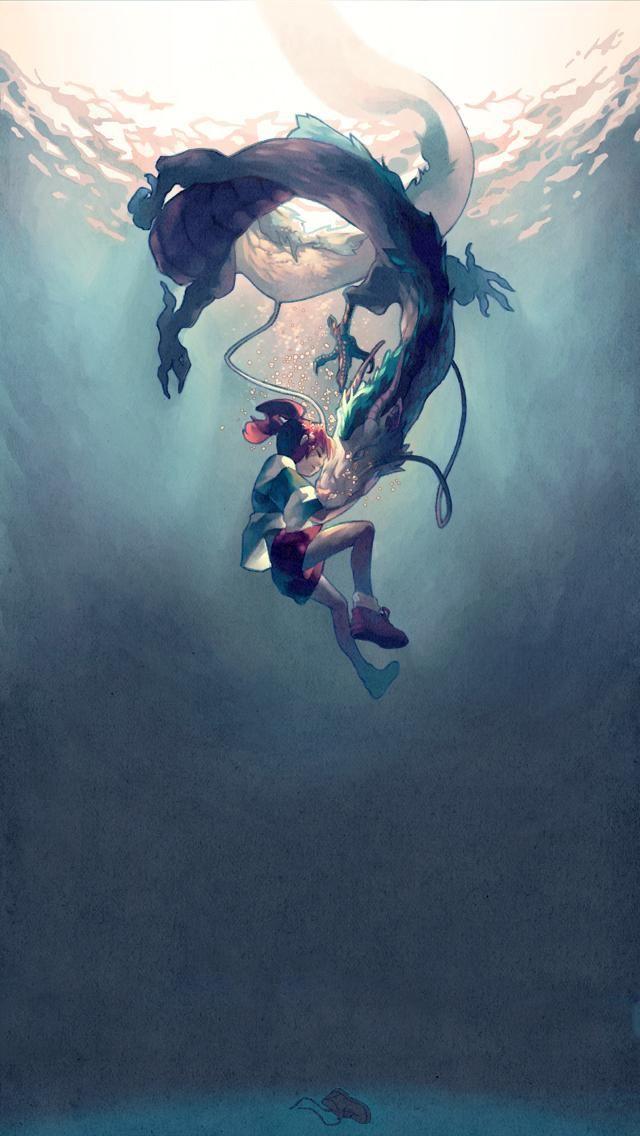 Haku Spirited Away Studio Ghibli Iphone Wallpaper