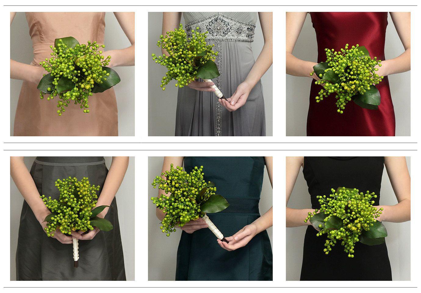 Wedding Flowers - Bridal Bouquet of Green Berries - Silk Berry ...
