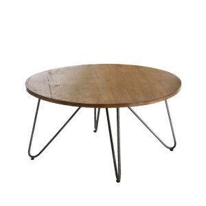 Table Basse Ronde Arco En Pin Massif 80 X 80 X 40 Cm Couleur Des