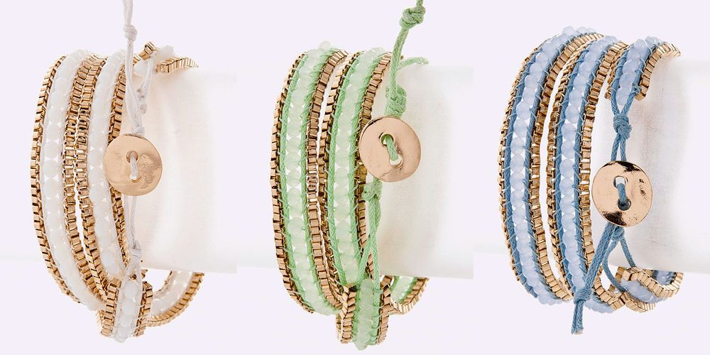 NEW Ella Acrylic Bead Box Chain Wrap Bracelet - Various Colors www.TheConsignmentBag.com We ship items Worldwide!