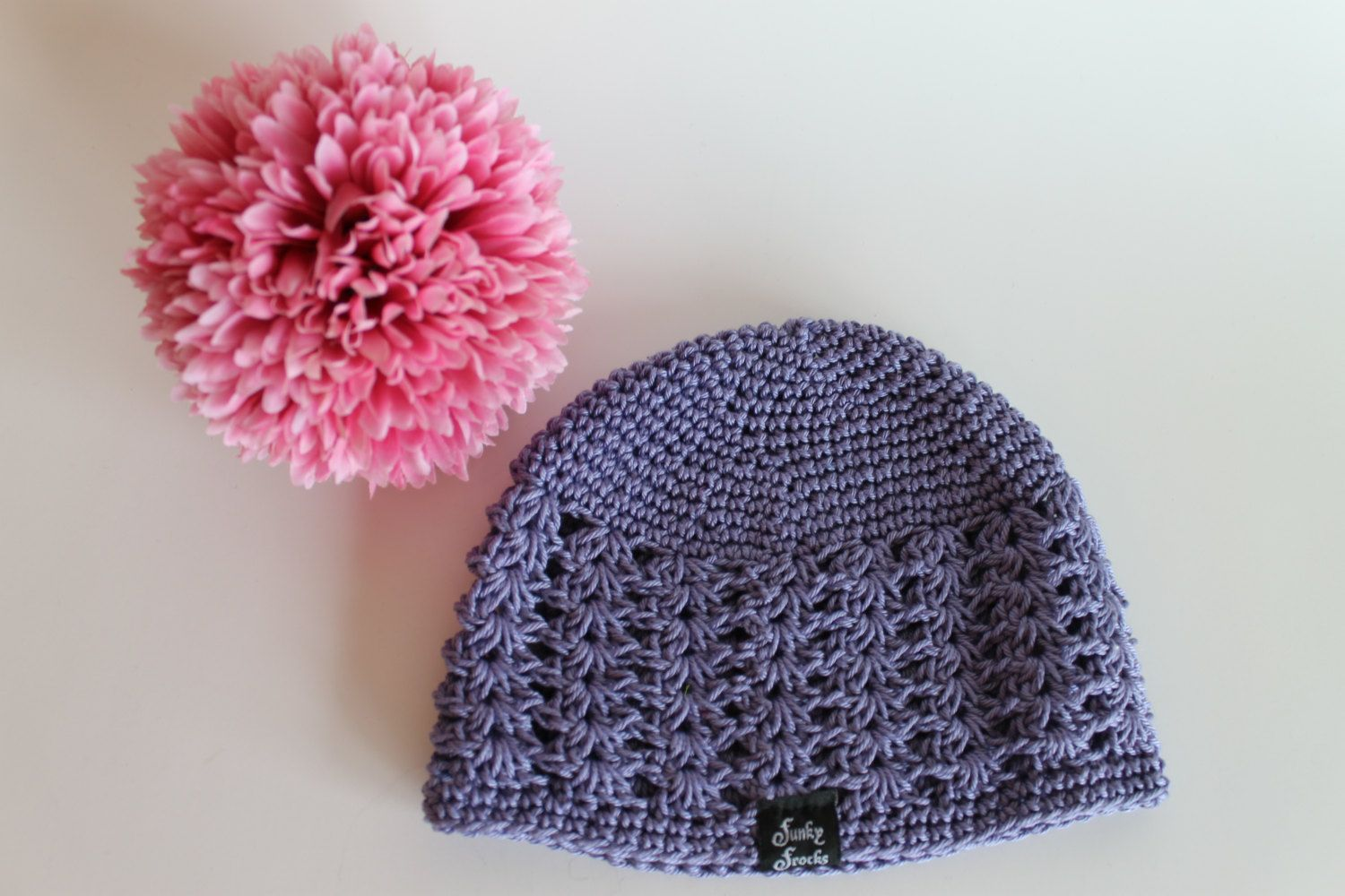 5e593b99a92 Handmade Baby Toddler Purple Crochet Beanie Shell Pattern Hat by  FunkieFrocks on Etsy