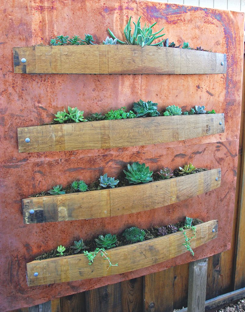 vertical succulent planter with wine barrel staves and copper how can make this for herbs on the fence outside the kitchen door perfect alpine wine design outdoor finish wine barrel