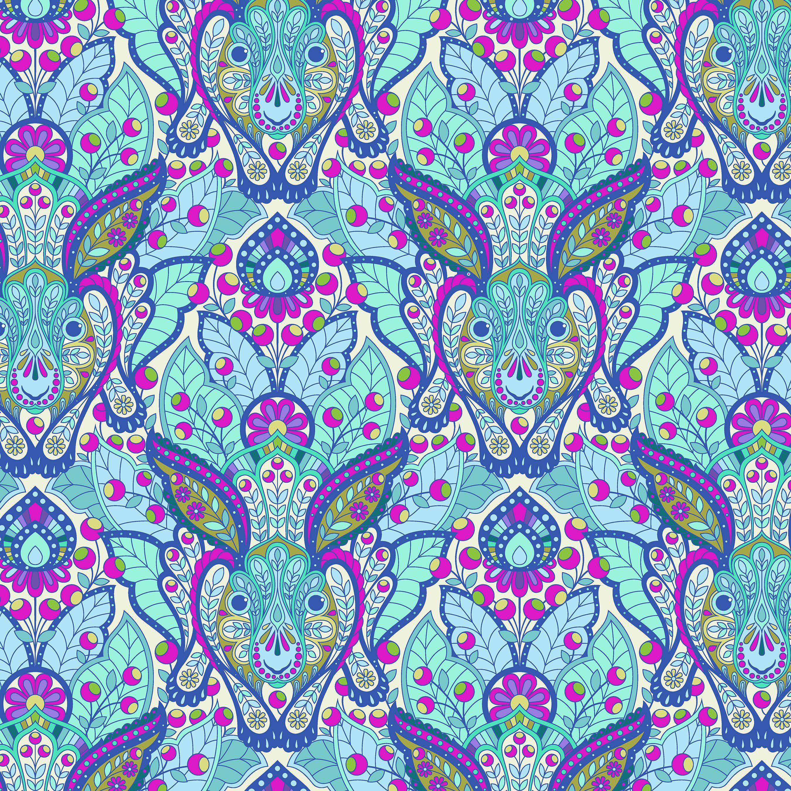 By 1//2 Yard ~ Free Spirit Tula Pink Fabric Slow /& Steady ~ Hare Blue Raspberry