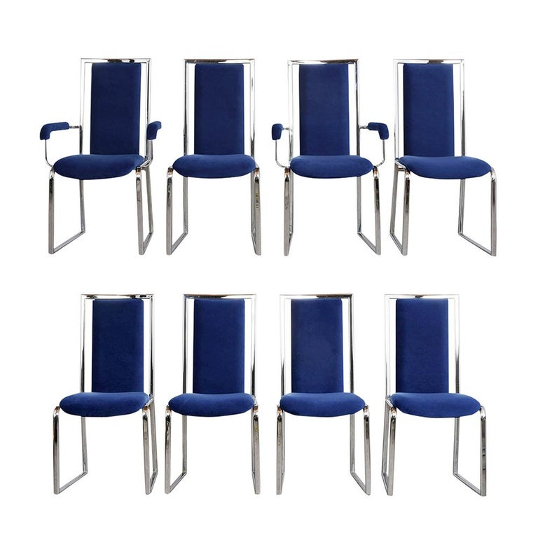 Set Of Eight Modern Chrome Dining Chairs Dining Chairs Fabric