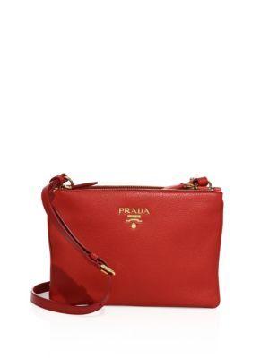 55f5784aa726 PRADA Daino Double-Zip Leather Crossbody Bag.  prada  bags  shoulder bags   leather  crossbody  lining