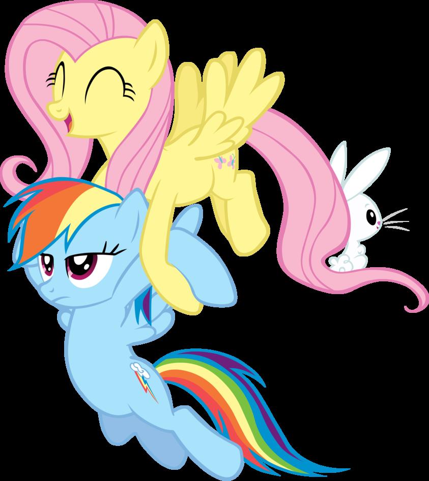 Fluttershy Carrying Rainbow Dash
