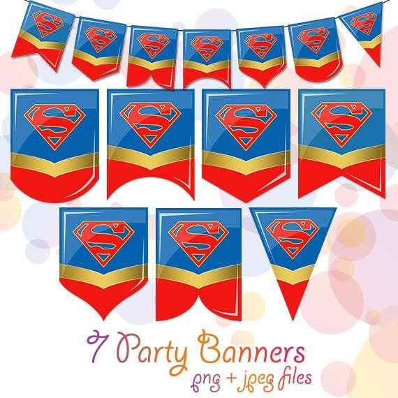 7 Supergirl Superhero Printable Flags Decor Garland Banner Birthday Party Decorations Bunt