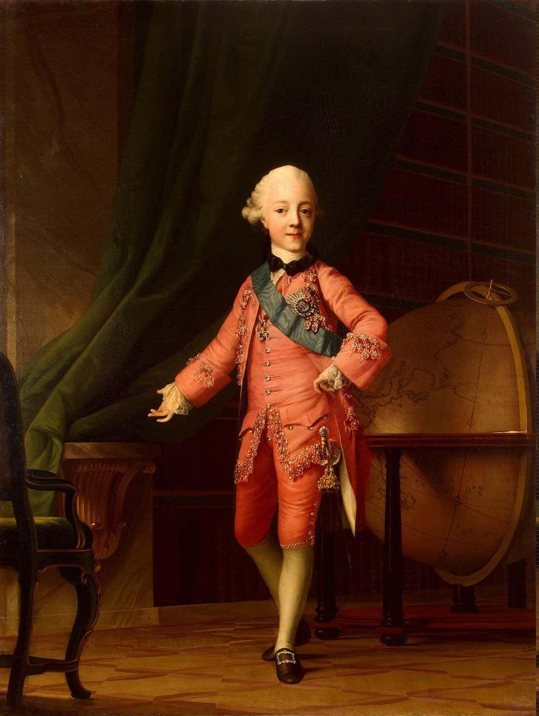 Портрет великого князя Павла Петровича в учебной комнате. Автор:Эриксен Вигилиус Годы жизни:(1722—1782):