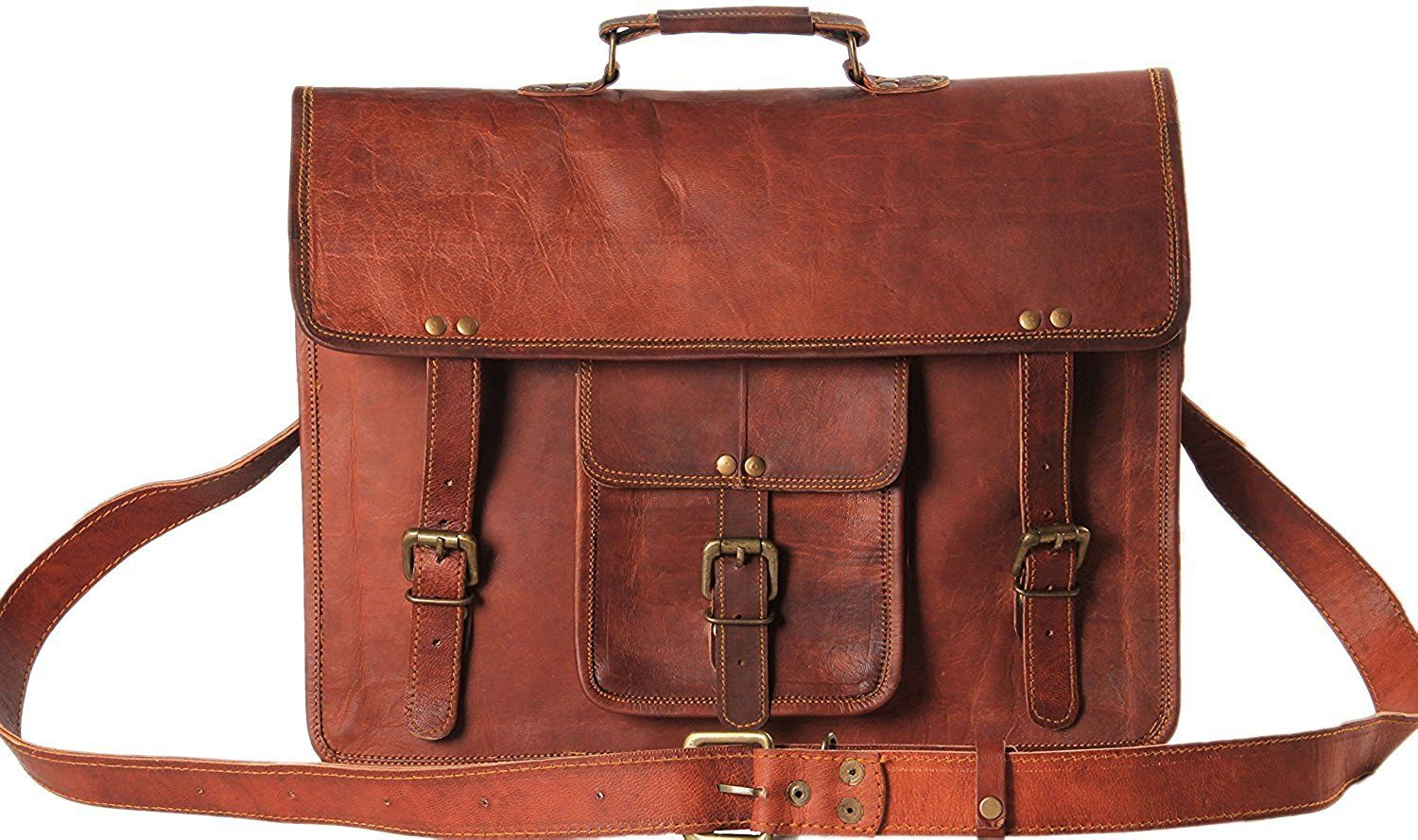 Handmadecart Messenger Bags for Men and Women Leather Laptop Briefcase Shoulder Satchel Crossbody Brown and Dark Brown Bag >>> Learn more by visiting the image link.