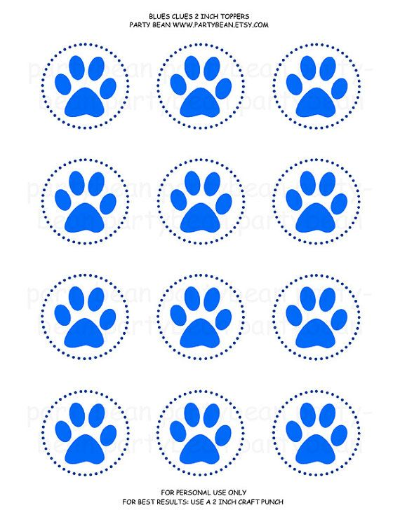 Blues Clues Paw Print Cupcake Toppers Stickers Tags by partybean | Party