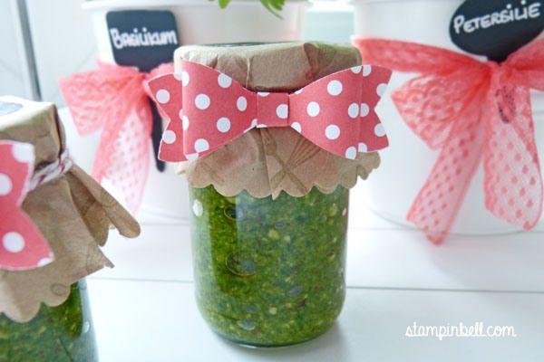 Pesto Stampin´ Up! Einmachgläser verzieren Glas verschenken aus - geschenk aus der küche