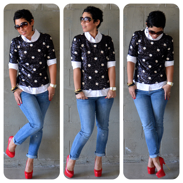 Today's Blog Post: Daytime Sequin, Jeans + Red Pumps             #JCrew #Gap #SteveMadden