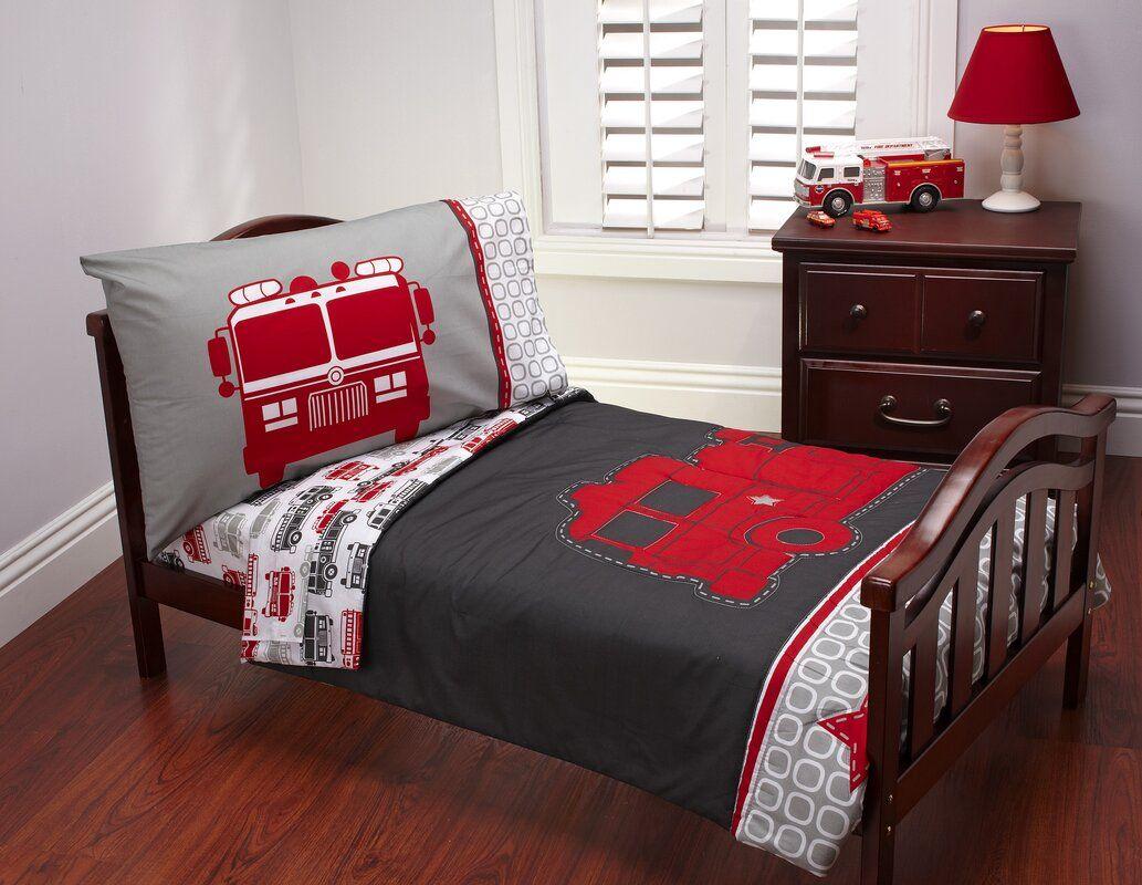 Fire Truck 4 Piece Toddler Bedding Set Toddler bed set