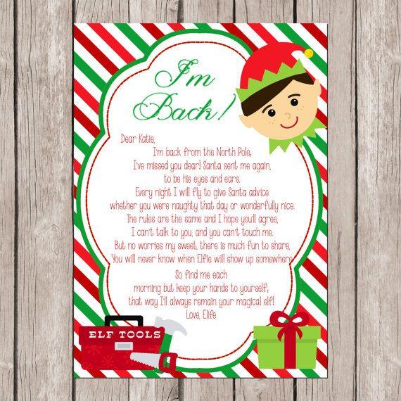 """Elf """"I'm Back"""" DIY/PRINTABLE Letter Christmas elf, Elf"""