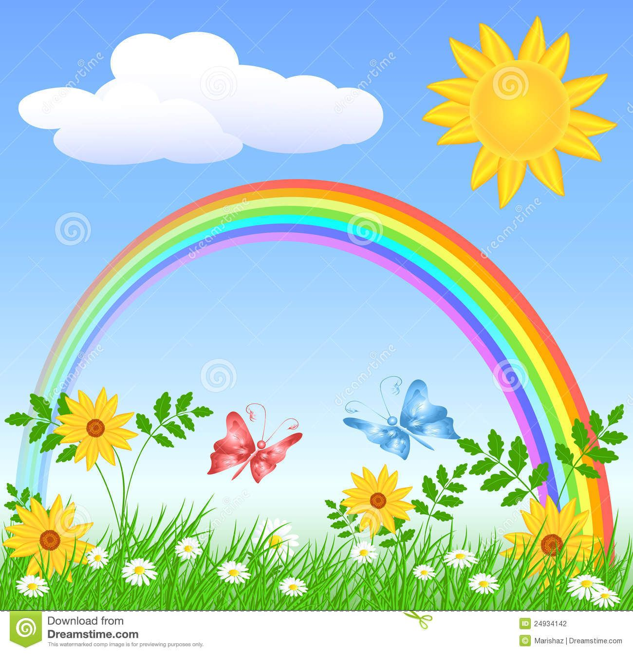 Beautiful Garden With Rainbow Background Clipart With Images