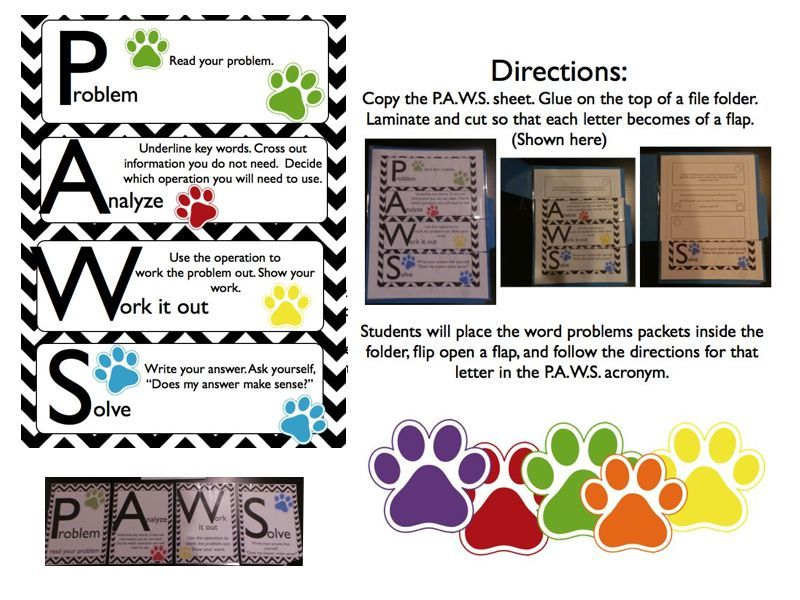 P A W S Word Problem Solving Strategy Using Folders And Bulletin
