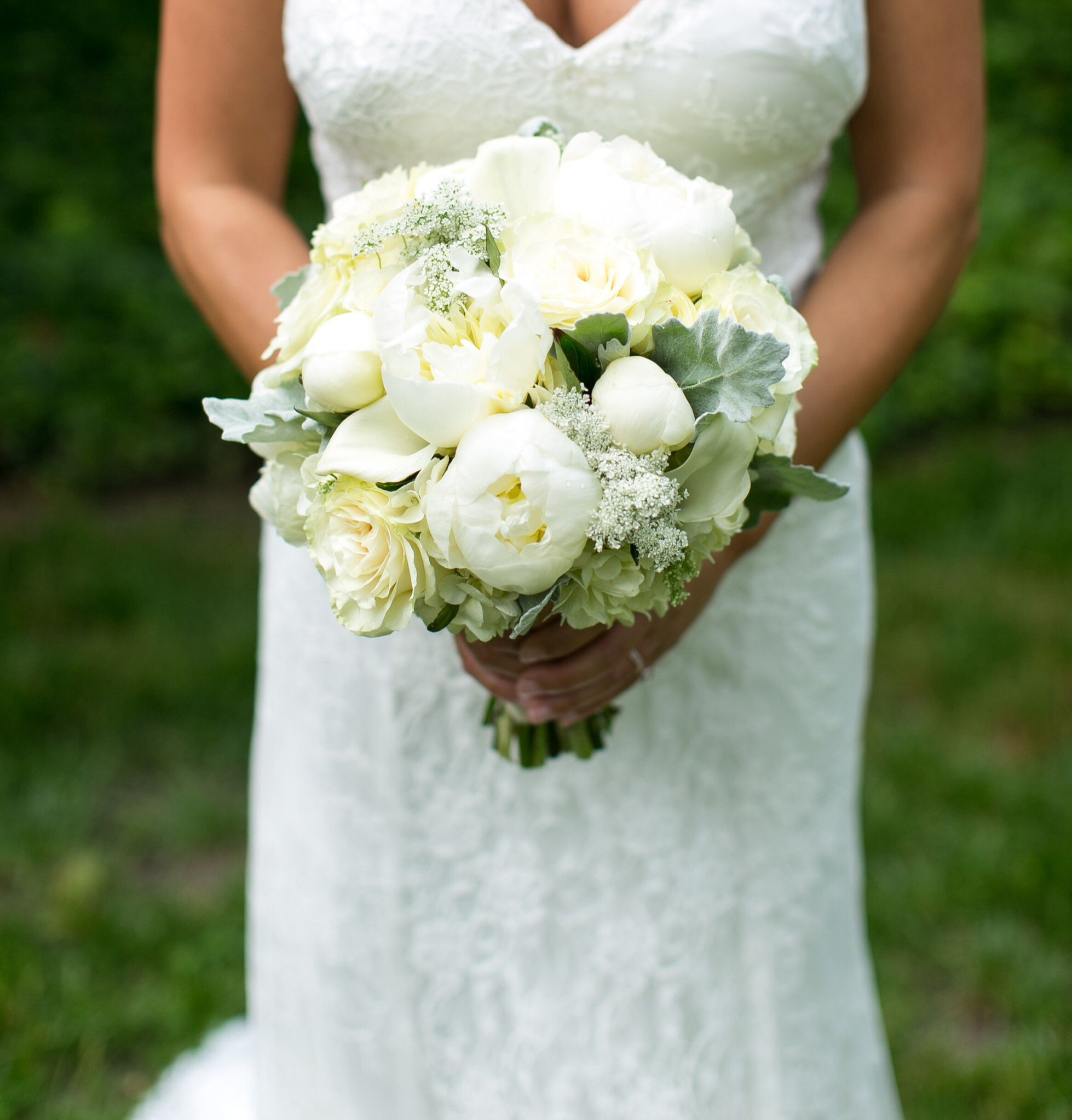 bridal bouquet with white peonies white garden roses queen annes lace dusty miller