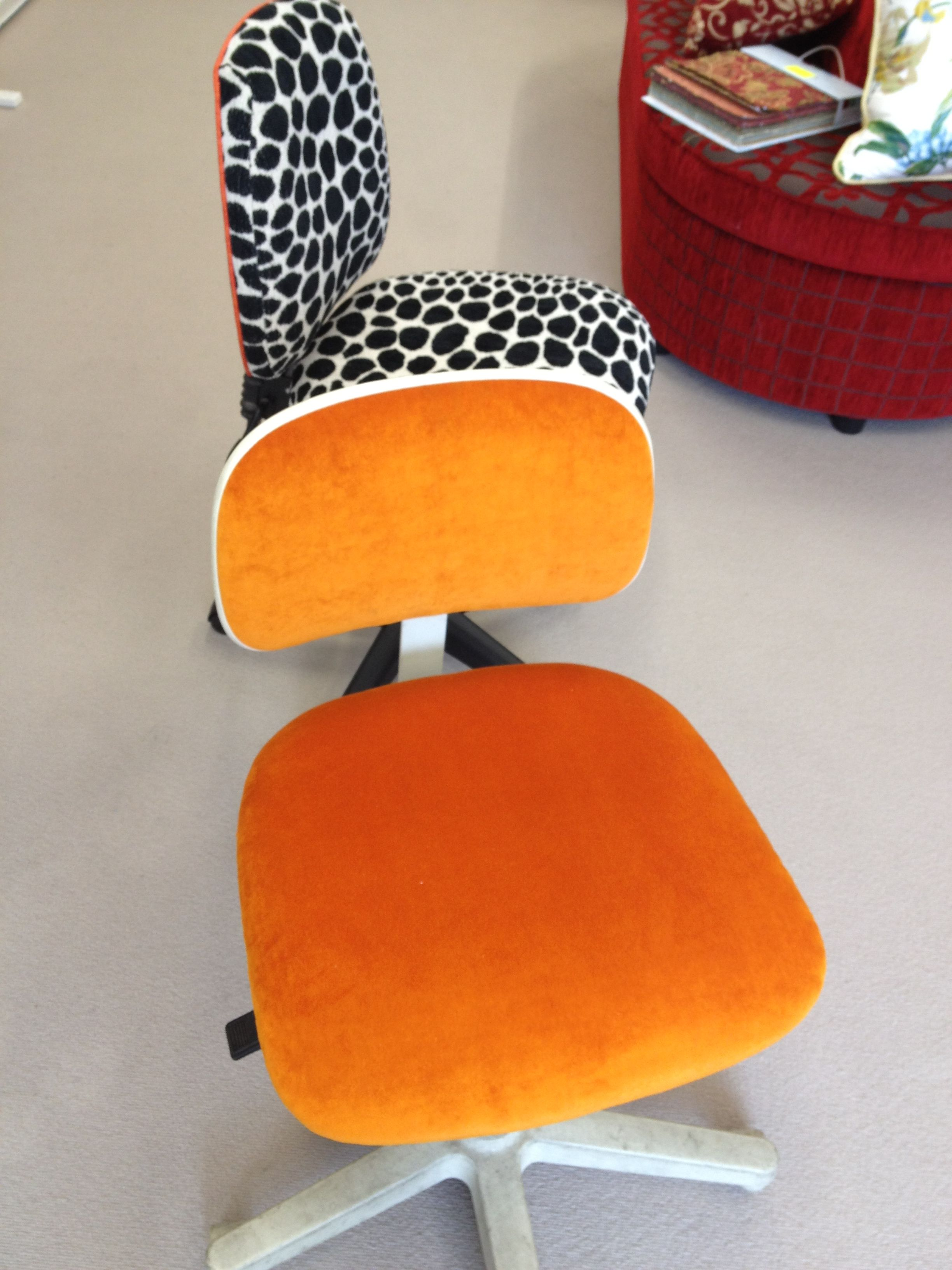 Orange Velvet Office Chair