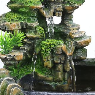 Hode Creative Indoor Simulation Resin Rockery Waterfall Statue Feng Shui Water Fountain Home Garden Crafts Indoor Water Fountains Water Fountain Mystic Garden