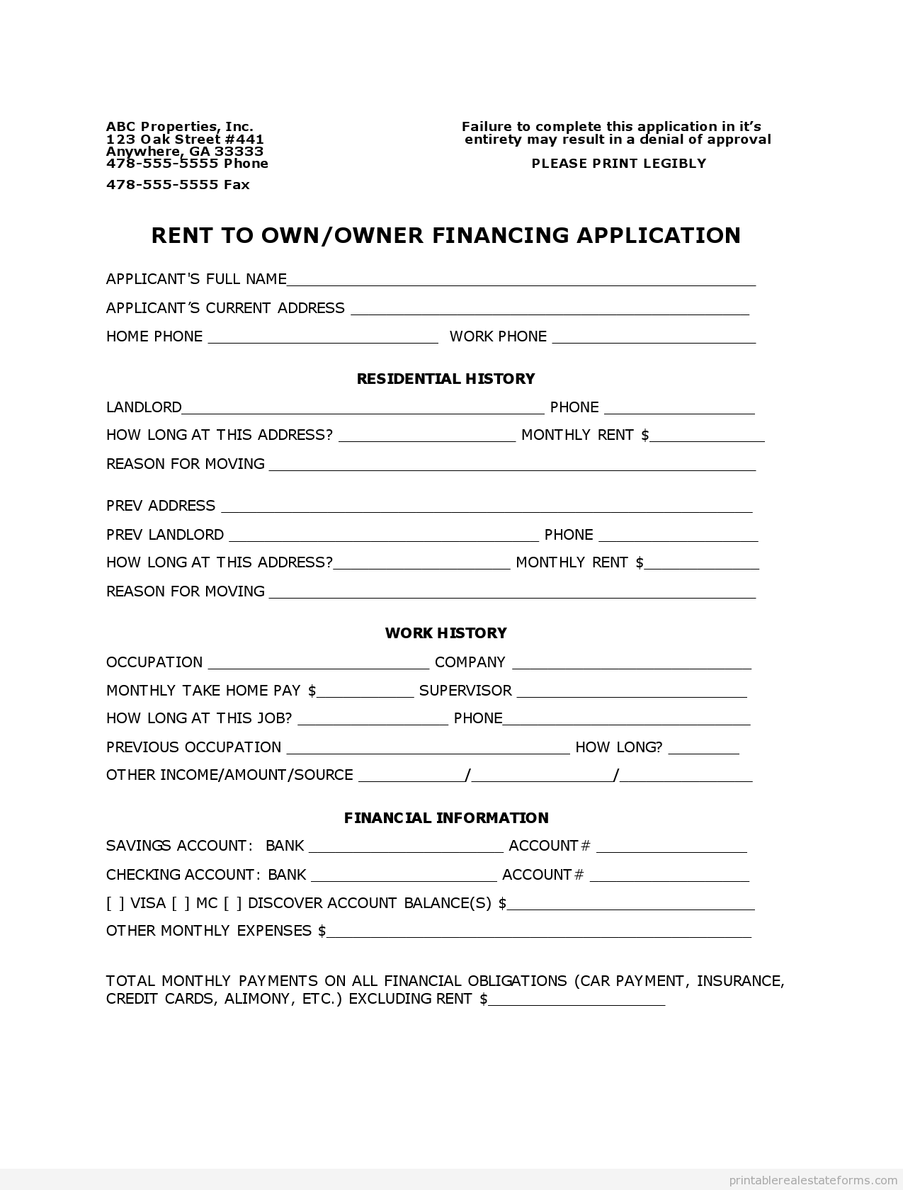 Printable Rental Owner Finance Application Template   Sample