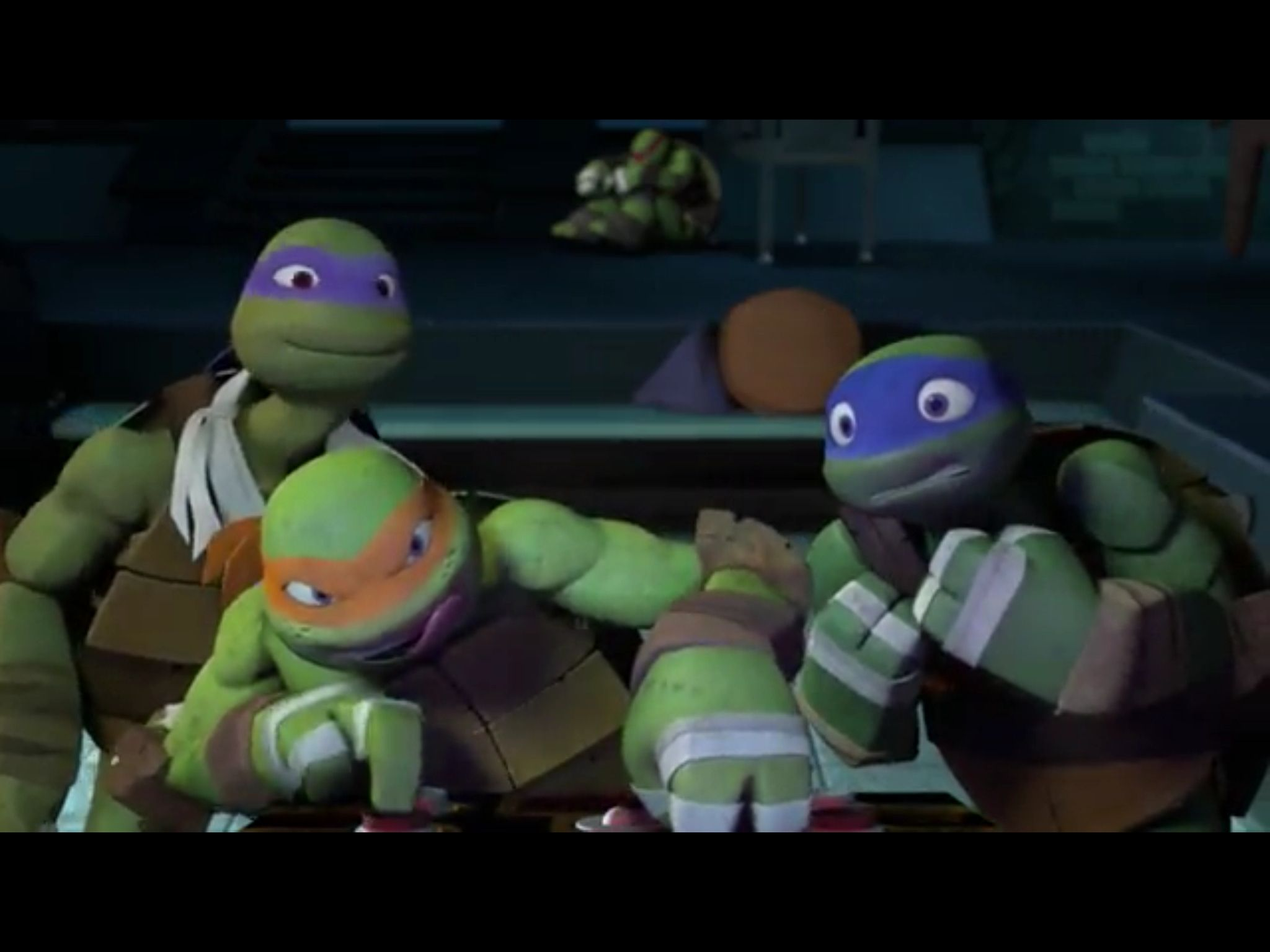 Look at Leo! Mikey has his tongue out! And Donnie's smiling