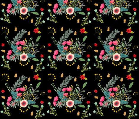 Boho Floral With Black Background
