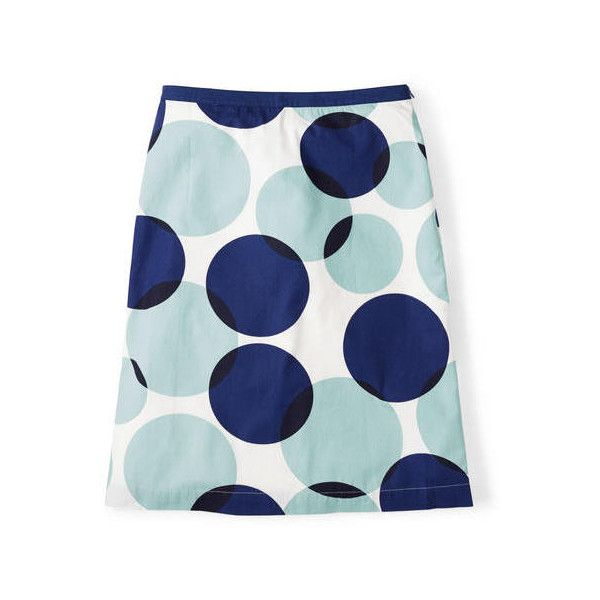 Boden Printed Cotton A-line Skirt ($37) ❤ liked on Polyvore featuring skirts, blue, blue striped skirt, feather skirt, cotton a line skirt, striped skirt and polka dot skirt