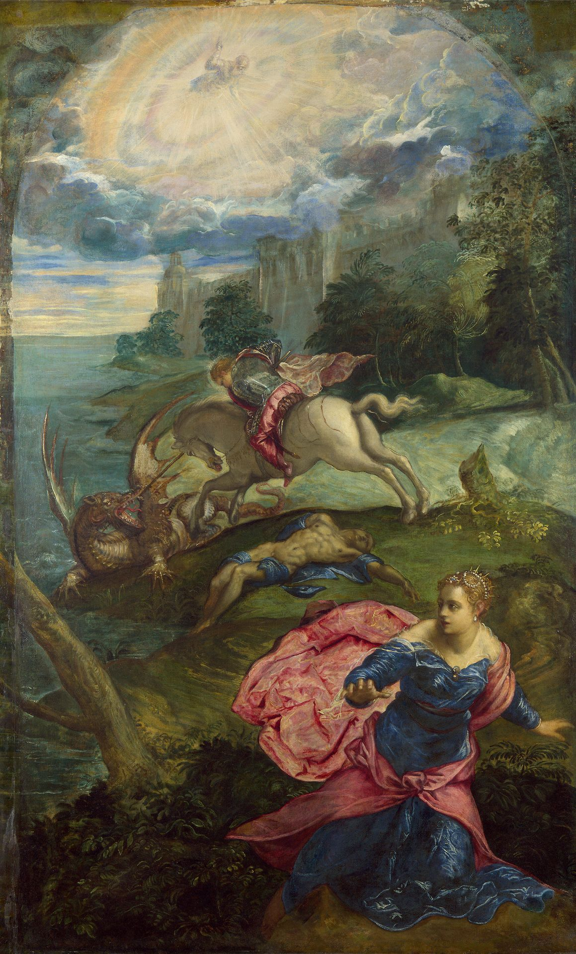 Jacopo Comin (Tintoretto) - Saint George and the Dragon; National Gallery, London, England; c.1555