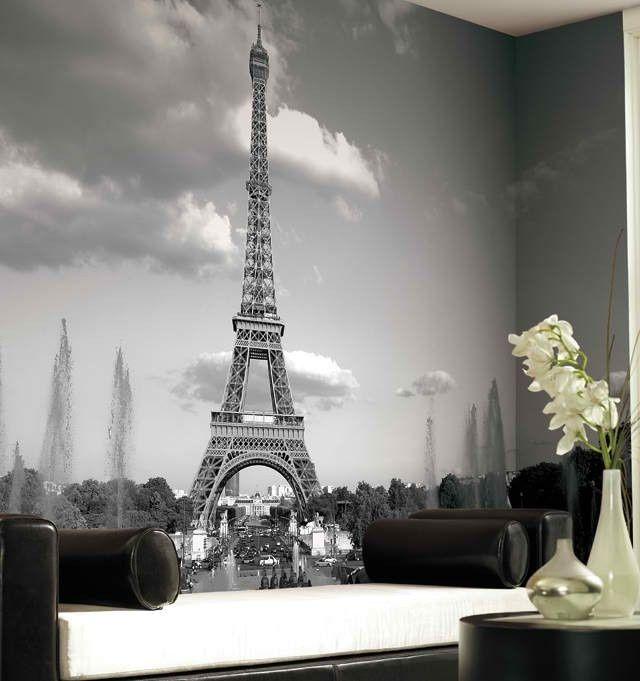Marvelous Eiffel Tower Mural Wallpaper: Black And White!