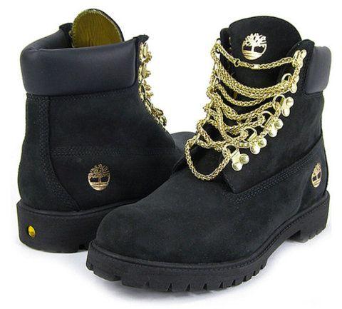 celebracion Descendencia En riesgo  black timberland boots with gold chain laces