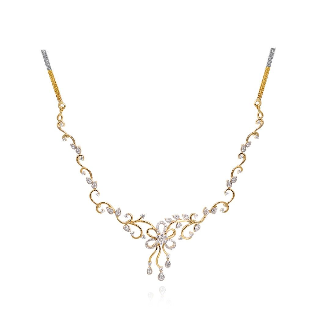 Necklaces | Beautiful Floral Design Diamond Necklace | GRT ...