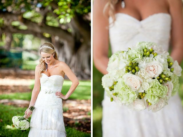 bride's bouquet of light green carnations,  green hypericum berries and roses