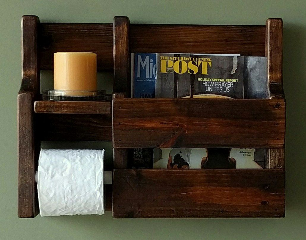 Magazine Rack Toilet Paper Holder Made From Rustic Reclaimed And Repurposed Pallet Wood By Woodxdesig Repurposed Pallet Wood Wood Pallets Rustic Magazine Racks
