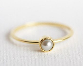 Pearl Engagement Ring Gold Pearl Ring Pear Pearl by capucinne