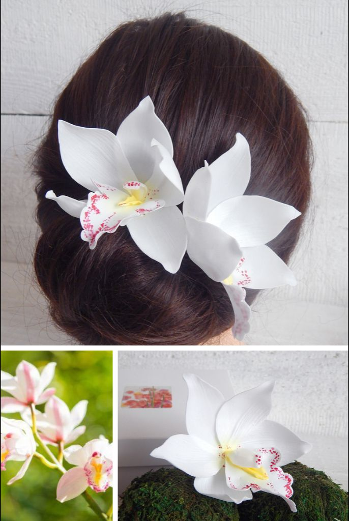 Orchid Beachwedding Orchids Hairaccessories Weddings Tropical Flowers In Hair Flower Hair Pin Beach Wedding Flowers
