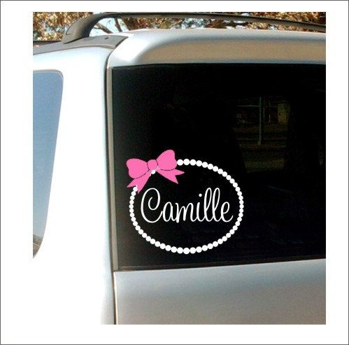 Personalized car decal name pearl border by customvinylbybridge