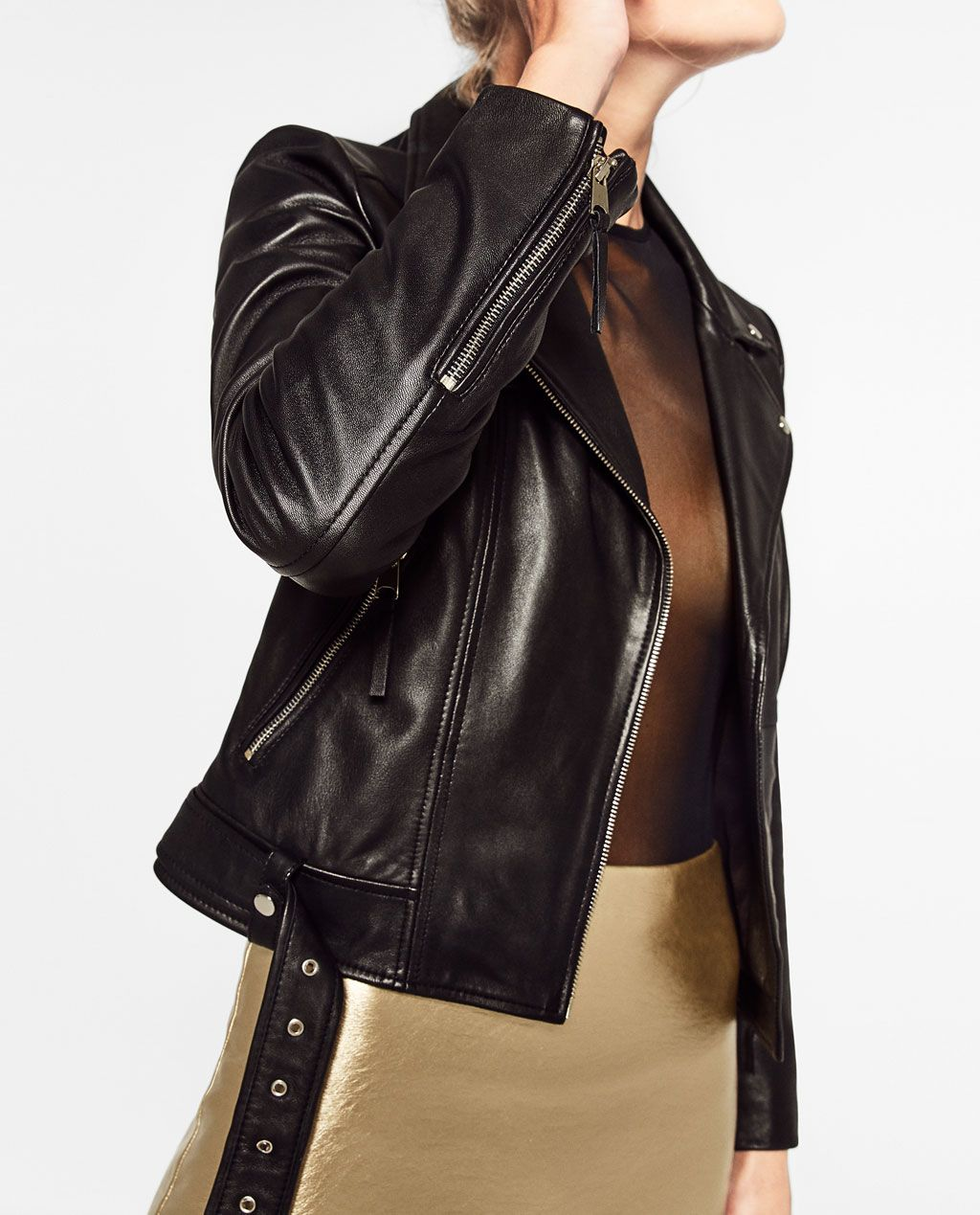 Image 4 of BASIC LEATHER JACKET from Zara Fashion
