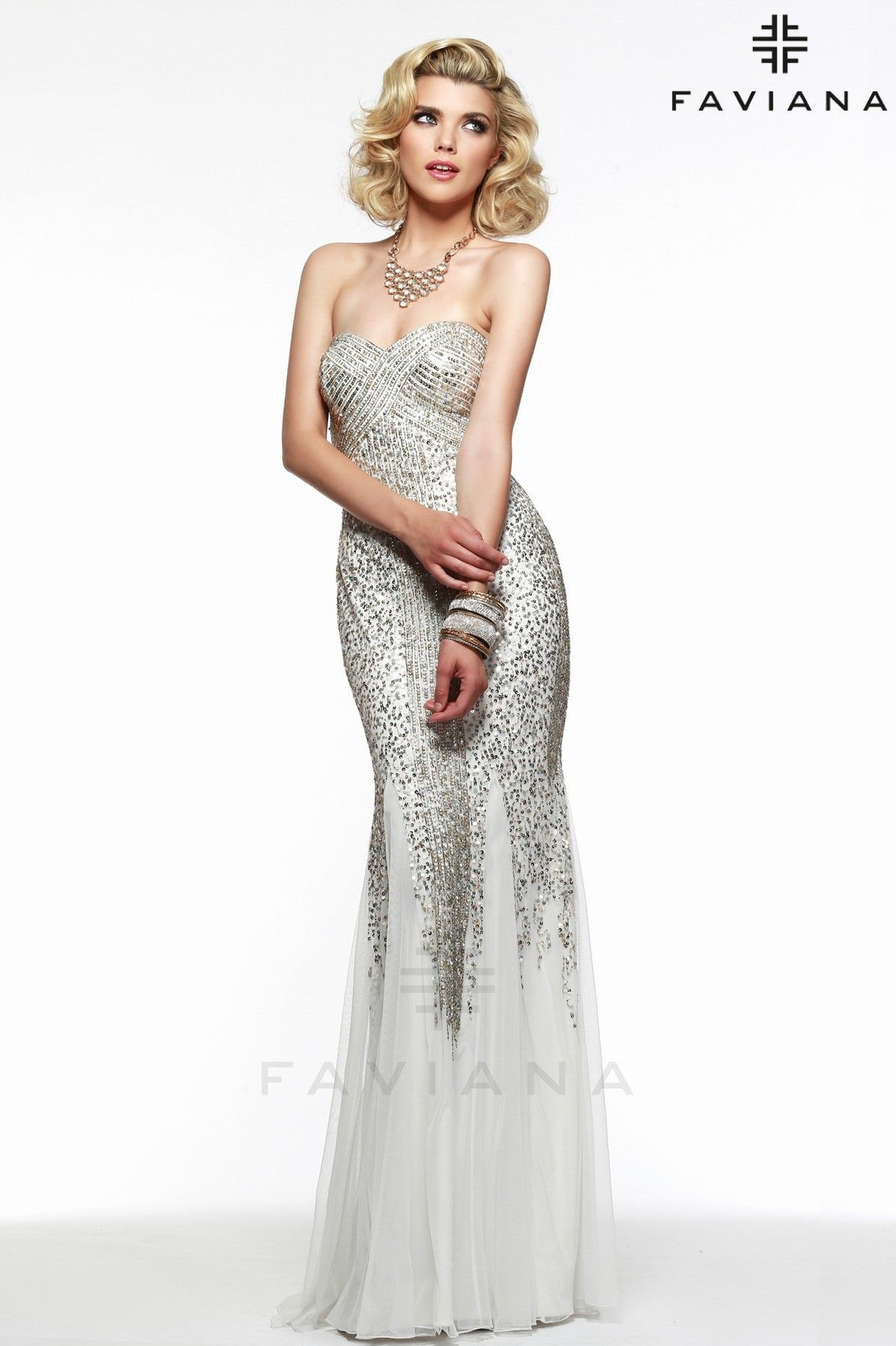 S7567 Ivory/Gold Bead Detailing Prom Dresses 2015