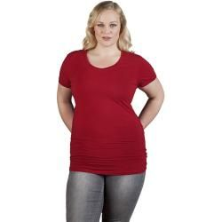 Photo of Slim-fit V-neck T-shirt long plus size women, cherry red Promodoro