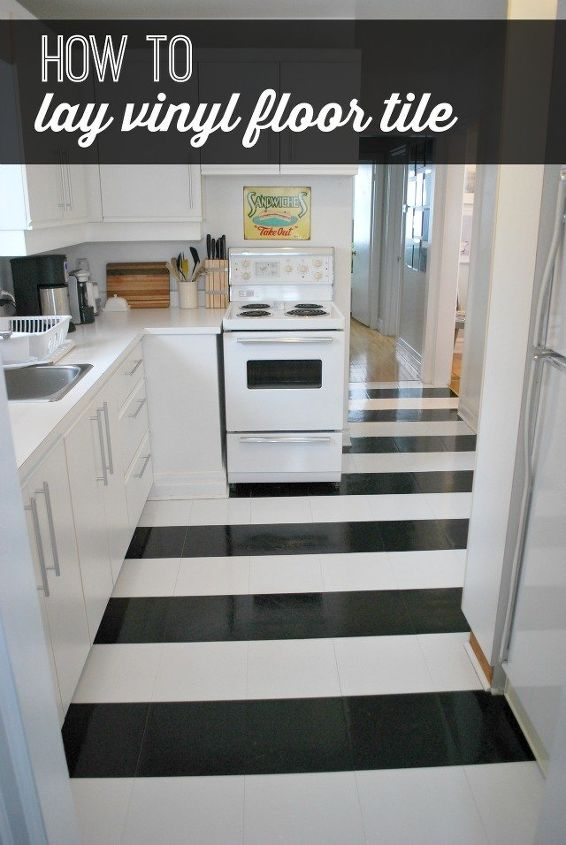 How To Lay Vinyl Black And White Flooring In Stripes Diy Budget Flooring Ideas Kitchen Flooring Black And White Flooring