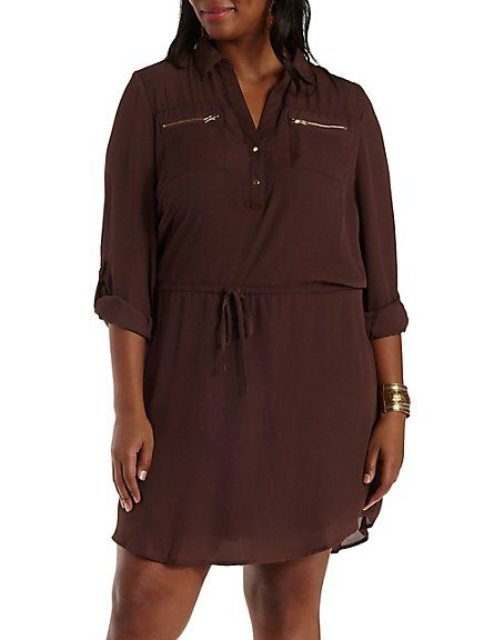 2d3264944c08 Plus Size Zipper Pocket Chiffon Shirt Dress #CharlotteLook #CharlotteRusse  #CharlotteRussePlus