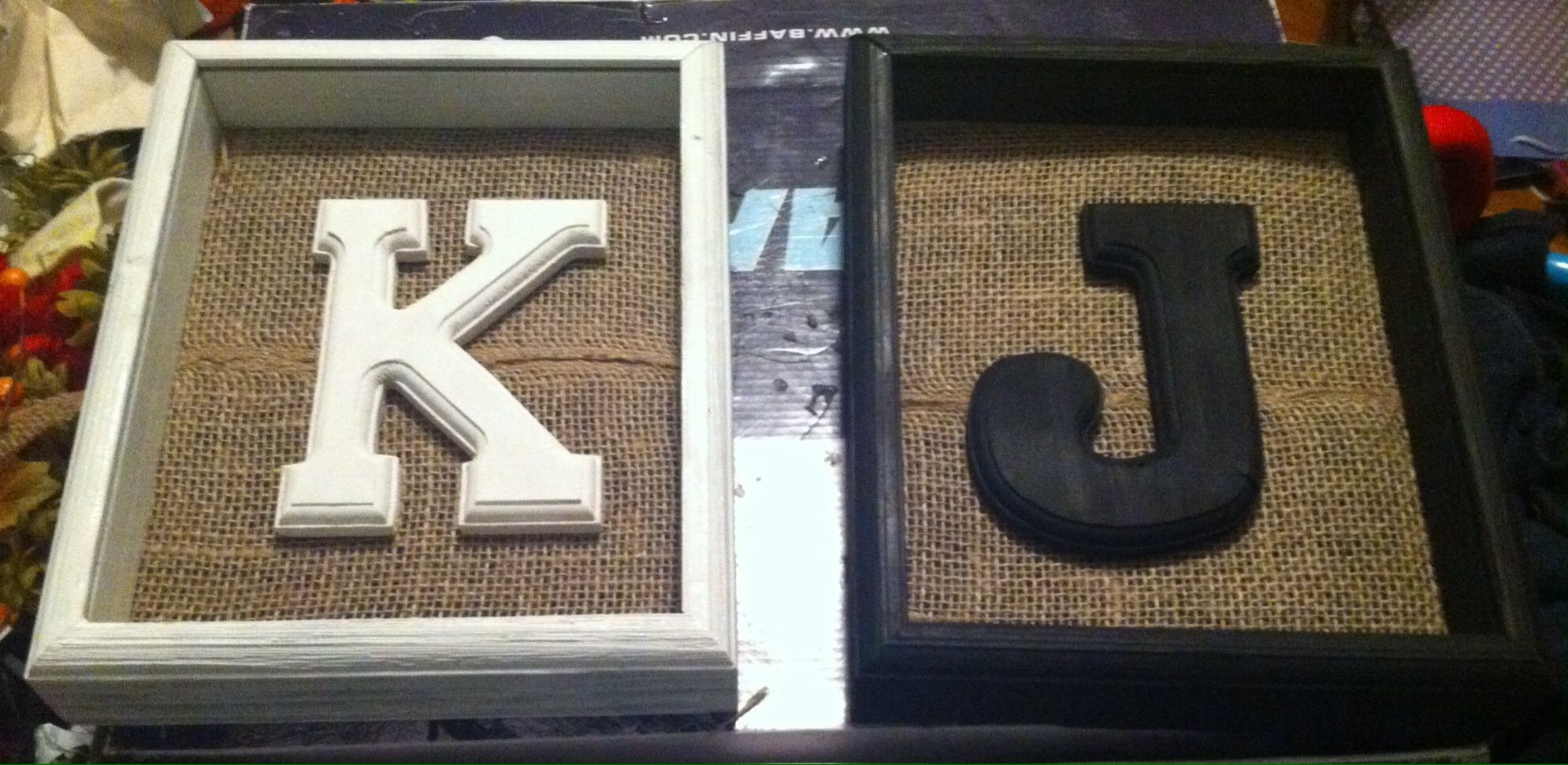 Gift For Sister In Law Monogram In Shadow Box On Burlap