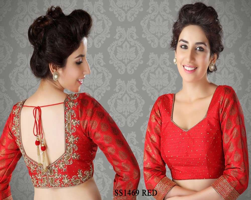 Beige golden brocade blouse blouse designs blouse designs for sarees - Red Brocade Fabric Saree Blouse Http Rajasthanispecial Com Index Php