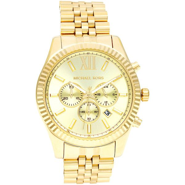 michael kors menu0027s mk8281 goldtone stainless steel watch 257 liked on polyvore featuring menu0027s fashion menu0027s jewelry menu0027s watches