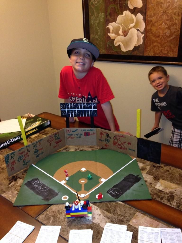 AJ, 8, and Austin, 5, play their StratOMatic home games