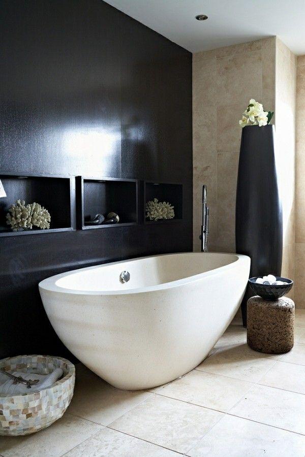 badezimmer schwarz beige weiß Badezimmer Ideen u2013 Fliesen - badezimmer schwarz weiß