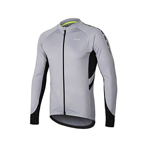 a34f9ea6b ARSUXEO Men s Full Zipper Long Sleeves Cycling Jersey Bicycle MTB Bike Shirt  6030 Light Gray
