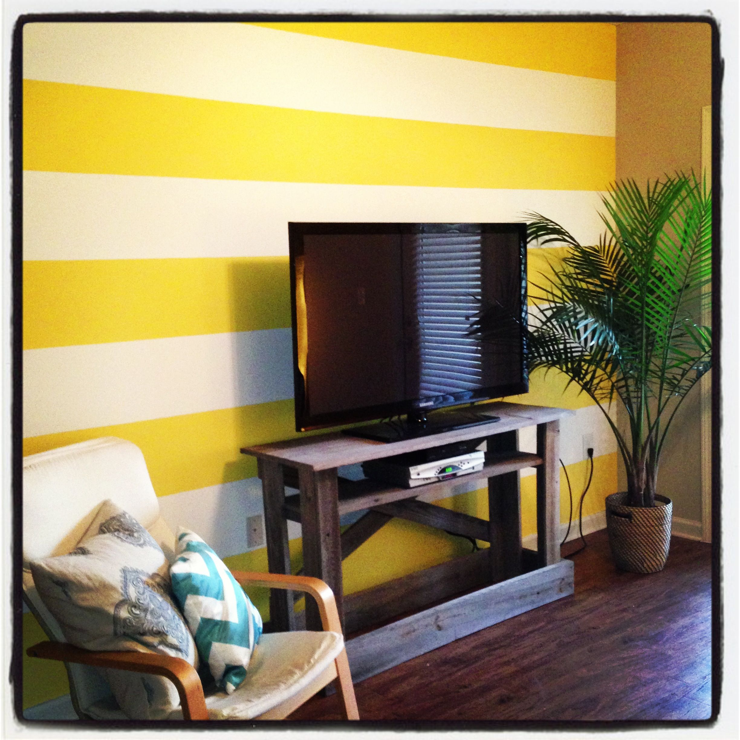 Our tropical living room we wanted a bright accent wall - How can we decorate our living room ...