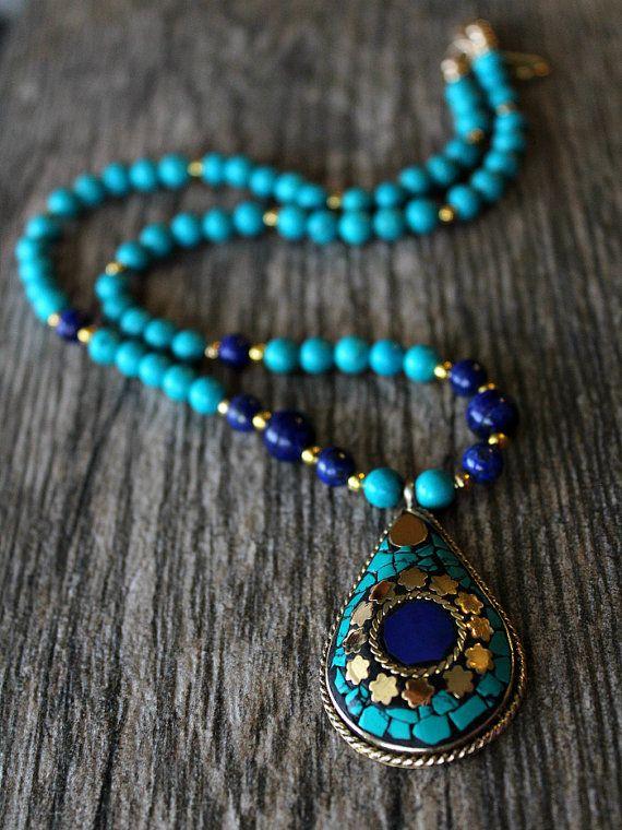Amazing Lapis Lazuli Tibetian Traditional Pendant Handmade Necklace Adjustable Jewelry For Women